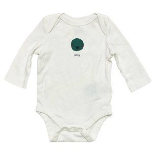 Baby Gap White Jolly Face Long Sleeve Onesie
